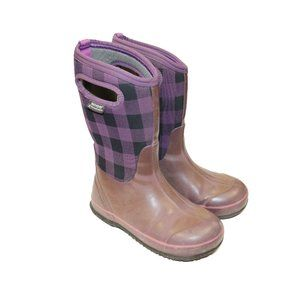 Bogs Plaid Purple  Youth -30 Winter Snow Boots